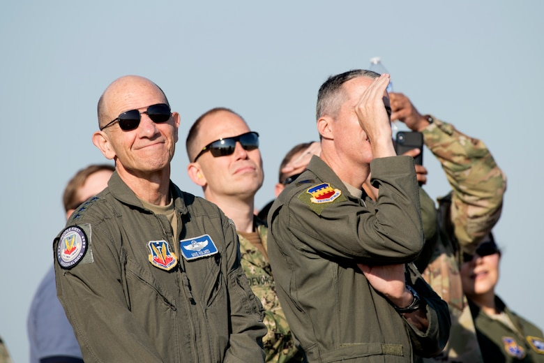"U.S. Air Force Air Combat Command leaders watch as Maj. Garret ""Toro"" Schmitz, F-16 Viper Demonstration Team commander and pilot, performs a demonstration at Joint Base Langley-Eustis, Va., May 16, 2019."