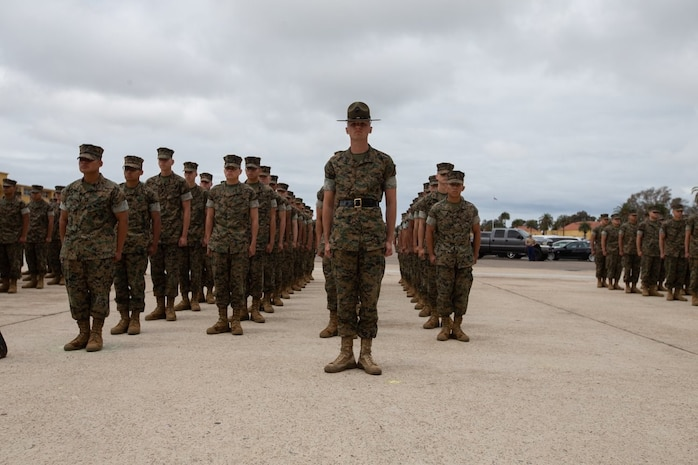 The new Marines of Hotel Company, 2nd Recruit Training Battalion, stand at attention during Family Day at Marine Corps Recruit Depot San Diego, May 9.