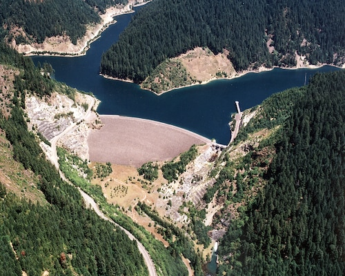 The U.S. Army Corps of Engineers built Blue River Dam and Reservoir in 1969 to manage flood risks from the McKenzie River, a tributary of the Willamette River, east of Eugene, Oregon. It is one 13 dams and reservoirs in the Willamette Valley System and has helped the Corps reduce the severity of floods, which saves the region an estimated one billion dollars per year. Portland District is commemorating the 50th anniversary of the system, this year.