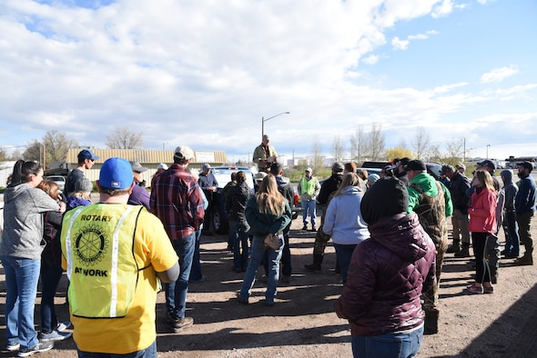 Brent Lathrop of the National Conservancy Group addresses a group of volunteers before beginning the clean up effort of the Crow Creek in Cheyenne, Wyo., May 11. More than fifty volunteers came out as part of the Crow Creek Revival project aimed at bringing the creek closer to its original state.