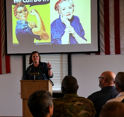 Missouri National Guard Airmen, Soldiers, and their guests  gathered May 4 to experience a unique piece of living history as a Leah Winchester, shared the vision of servant leadership of her grandmother, Naomi Parker.  Naomi Parker was the inspiration for the famed Rosie the Riveter.