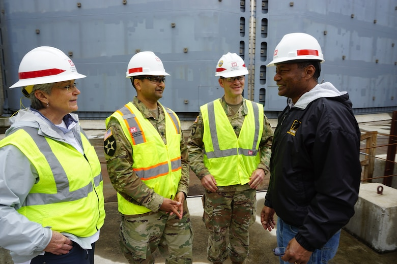 GRAND RIVERS, Ky., Tenn. (May 16, 2019) –U. S. Army Corps of Engineers Nashville District Commander, Lt. Col. Cullen Jones welcomed The Marine Board members from the Transportation Research Board of The National Academies of Sciences, Engineering for a tour of the Kentucky Lock Addition Project at Kentucky Lake on the Tennessee River in Grand Rivers, Ky., to get a close overview of the construction.