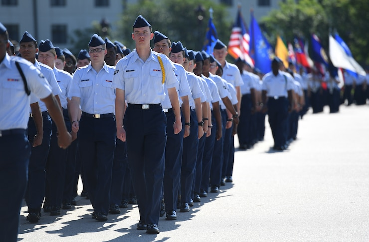 Airmen from the 81st Training Group march in formation during the 81st Training Wing change of command ceremony on the Levitow Training Support Facility drill pad at Keesler Air Force Base, Mississippi, May 16, 2019. U.S. Air Force Col. Debra Lovette passed on command of the 81st TRW to Col. Heather Blackwell. (U.S. Air Force photo by Kemberly Groue)