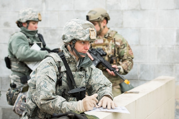Airman 1st Class Kayla Sine, assigned to the 167th Security Forces Squadron, makes notes during a training exercise at Alpena Combat Readiness Training Center, Alpena, Mich., May 7, 2019. Approximately 300 167th AW Airmen participated in the training event. (U.S. Air National Guard photo by Tech. Sgt. Jodie Witmer)
