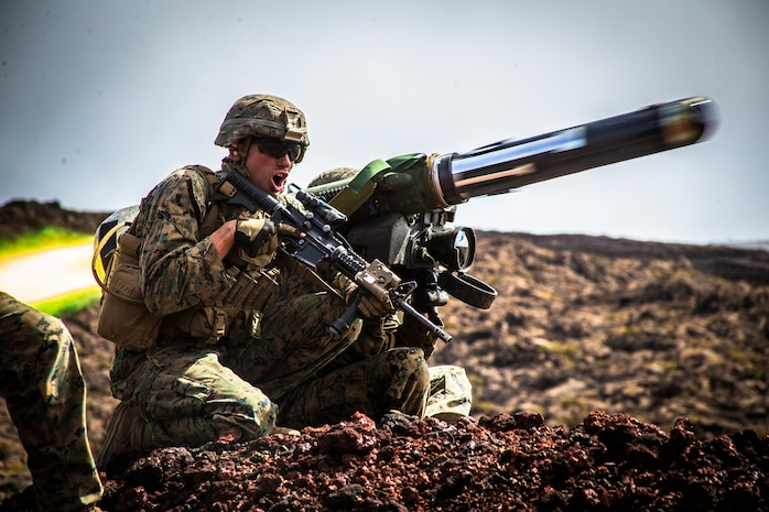 U.S. Marine Corps Sgt. Troy Mole, section leader, Combined Anti-Armor Team, Weapons Company, 2nd Battalion, 3rd Marine Regiment, fires a shoulder-fired Javelin missile during Exercise Bougainville II on Range 20A, Pohakuloa Training Area, Hawaii, May 15, 2019. Bougainville II is the second phase of pre-deployment training conducted by the battalion in order to enhance unit cohesion and combat readiness.