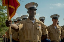 """A native of Atlanta, Georgia, graduated from Marine Corps recruit training here as the platoon honor graduate of Platoon 3032, Company L, 3rd Recruit Training Battalion, May 17, 2019. Abubakry B. Adejumo, earned this distinction over 13 weeks of training by outperforming 47 other recruits during a series of training events designed to test recruits' basic Marine Corps skills. These training events covered customs and courtesies, drill and ceremonies, marksmanship, physical fitness, military history, and a variety of other subjects. """"I liked drill because it motivated me. I like the way we moved around and it gave me a sense of pride,"""" said Adejumo. After enjoying the 10 days of leave allotted to graduates of recruit training, Adejumo will continue to build foundational Marine Corps skills at the School of Infantry, Camp Geiger, North Carolina."""