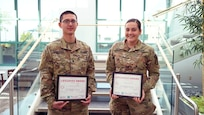 New Mexico Army National Guard Soldiers Spc. Roberto Sandoval and Pfc. RaeJean Lucero, both 68W's (Combat Medics), were honored by The Christ Hospital in Cincinnati on May 16, 2019. The Soldiers were responsible for saving the life of a man who was seriously injured in a motor vehicle accident.  Sandoval and Lucero are participants in the Strategic Medical Asset Readiness Training (SMART) program with The Christ Hospital in Cincinnati.
