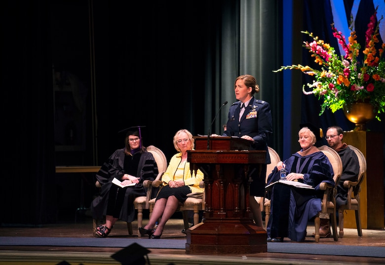 Col. Samantha Weeks, 14¬th Flying Training Wing commander, speaks at the Mississippi University for Women's 134th commencement ceremony May 11, 2019, at the MUW Rent Auditorium in Columbus, Miss. Often referred to as graduation, the commencement ceremony is an end-of-spring semester celebration for students projected to successfully complete all of their graduation requirements by the end of the spring or summer semester of that year (U.S. Air Force photo by Airman Hannah Bean)