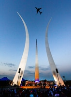 A KC-46, performs a flyover at the Air Force Memorial