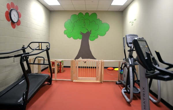 The new Parent Child Area at the Medical Education and Training Campus Fitness Center at Joint Base San Antonio-Fort Sam Houston includes an enclosed play area and small table for children and a workout area for parents, allowing parents to work out while watching their children at the same time. The official opening of the Parent Child Area is June 3.