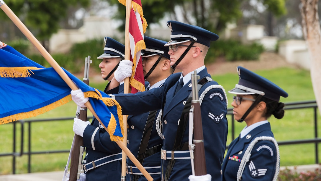 Vandenberg Honor Guard members prepare to post the colors during the 30th Security Forces Squadron National Police Week opening ceremony, May 13, 2019, Vandenberg Air Force Base, Calif. In 1962, President John F. Kennedy signed a proclamation that designated May 15 as Peace Officers Memorial Day and the week in which that date falls as Police Week. (U.S. Air Force photo by Airman 1st Class Hanah Abercrombie)