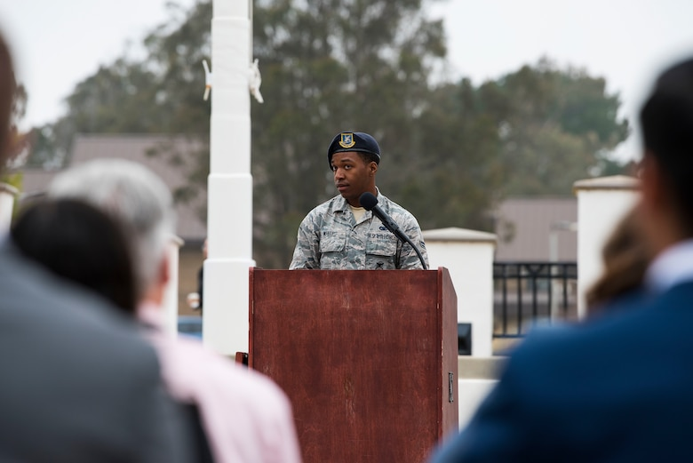 "Airman 1st Class Johnell White, 30th Security Forces Squadron response force leader, speaks during the National Police Week opening ceremony, May 13, 2019, Vandenberg Air Force Base, Calif. Members of the base celebrated their defenders during Police Week by participating in the ""Ruck to Remember ,"" Warrior competition, candlelight vigil, and other events. (U.S. Air Force photo by Airman 1st Class Hanah Abercrombie)"