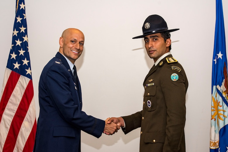 Egyptian Armed Forces Capt. Amer Faymy graduates from U.S. Air Force Military Training Instructor School May 9, 2019, at Joint Base San Antonio-Lackland, Texas. Faymy completed the eight-week course at the Military Training Instructor Schoolhouse and will return to his home country to instruct and lead members of the Egyptian Armed Froces.