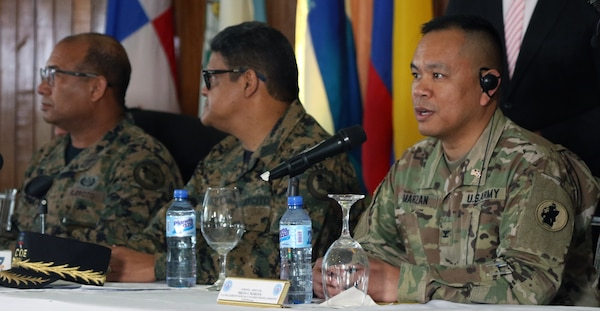 U.S. Army Col. Brian Marzan (right), Division Chief of U.S. Army South Training and Exercises and co-director of Fuerzas Aliadas Humanitarias 2019, answers media questions at the opening ceremony of FA-HUM 19 in Santo Domingo, Dominican Republic, May 6, 2019. FA-HUM 19 is a U.S. Army South-sponsored foreign humanitarian assistance and disaster relief exercise designed to build U.S. partner nation's capacity for civil and military response to major disasters. More than 100 national experts from over 13 Latin American countries operated jointly throughout FA-HUM 19 simulations and training events from May 6-17 in the Dominican Republic.
