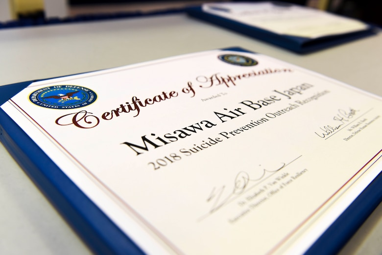 Misawa Air Base, Japan was recognized by the Department of Defense as the Air Force's top installation for suicide prevention outreach during the 2018 Defense Suicide Prevention Month recognition ceremony at the Pentagon, in Arlington, Va., May 15, 2019. Misawa AB is the Northernmost U.S. installation in Japan and the only bilateral, joint-service, civilian-use air base in the Pacific. (U.S. Air Force photo by Tech Sgt. Anthony Nelson Jr.)