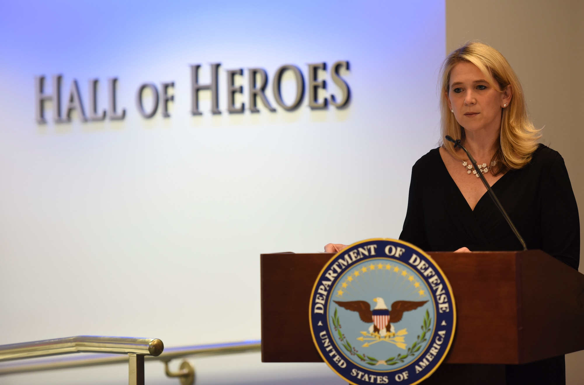 Dr. Elizabeth P. Van Winkle, executive director, Office of Force Resiliency gives her remarks during the 2018 Defense Suicide Prevention Month Recognition Ceremony at the Pentagon, in Arlington, Va., May 15, 2019. Van Winkle is the principal staff advisor to the Under Secretary of Defense for Personnel and Readiness. (U.S. Air Force photo by Tech Sgt. Anthony Nelson Jr.)