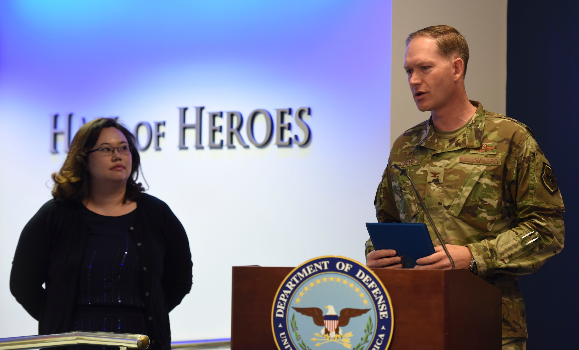 Col. Kristopher Struve, Misawa Air Base, Japan Wing commander gives his remarks during the 2018 Defense Suicide Prevention Month recognition ceremony at the Pentagon, in Arlington, Va., May 15, 2019. Misawa AB was recognized by DoD two years in a row for suicide prevention outreach. (U.S. Air Force photo by Tech Sgt. Anthony Nelson Jr.)
