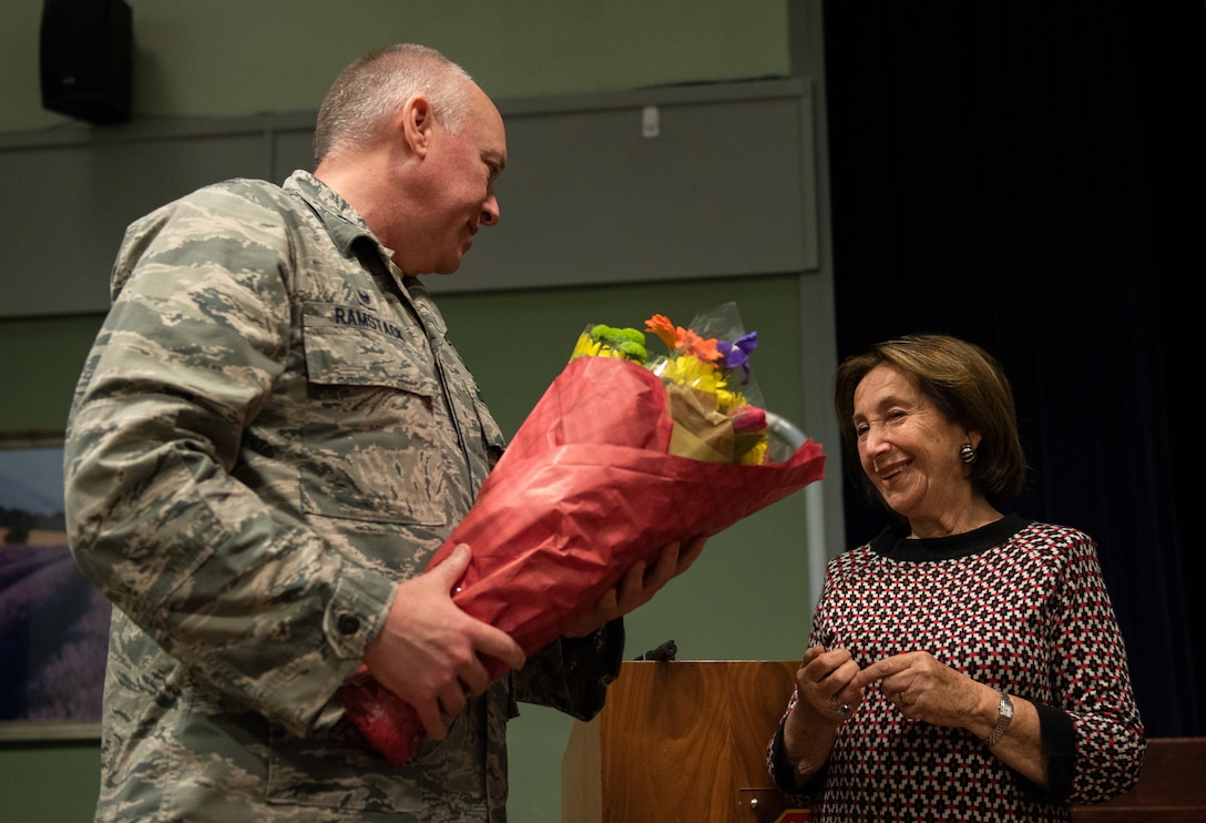 U.S. Air Force Lt. Col. Matthew Ramstock, 422nd Air Base Group commander, thanks Hannah Lewis, a Holocaust survivor for speaking at RAF Croughton, England, May 15, 2019. Lewis works with Holocaust Educational Center to spread awareness about the Holocaust and to share her story. (U.S. Air Force photo by Airman 1st Class Jennifer Zima)