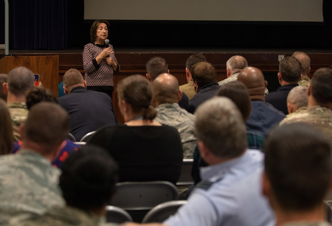 Hannah Lewis, a Holocaust survivor shares her experiences with Airmen at RAF Croughton, England, May 15, 2019. Lewis works with Holocaust Educational Center to spread awareness about the Holocaust and to share her story. (U.S. Air Force photo by Airman 1st Class Jennifer Zima)