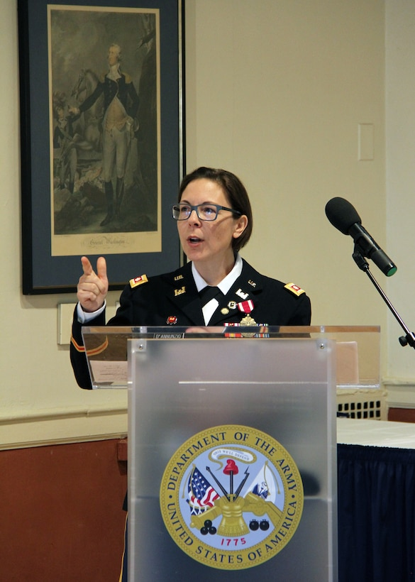 Lt. Col. Julie D'Annunzio made remarks to attendees at her retirement ceremony held May 10, at the Fort Hamilton Community Club's Washington Room in Brooklyn, New York.