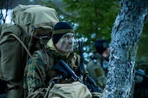 A U.S. Marine with 1st Platoon, Force Reconnaissance Company, 2nd Reconnaissance Battalion, 2nd Marine Division, patrols during exercise Platinum Ren at an undisclosed location, Norway, May 13, 2019.