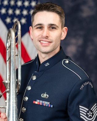Technical Sgt. Darren Workman is a trombonist with the Ceremonial Brass, The United States Air Force Band, Joint Base Anacostia-Bolling, Washington, D.C. Originally from Thomasville, North Carolina, his Air Force career began in 2016 with the U.S. Air Force Band of Mid-America, Scott Air Force Base, Belleville, Illinois where he performed as a member of the Concert Band, Shades of Blue, and Airlifter Brass. His career with the Ceremonial Brass began in 2019.
