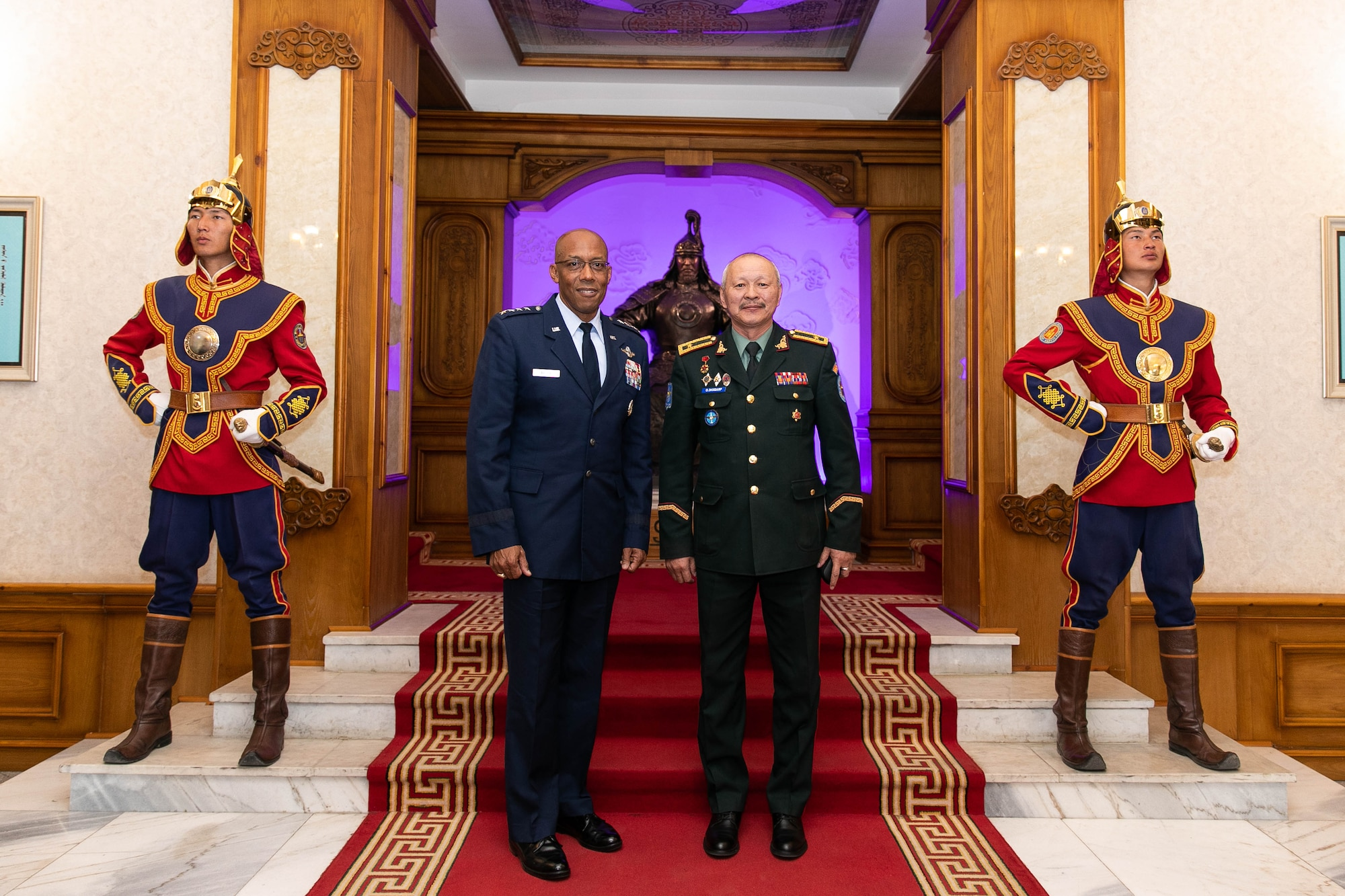 Gen. CQ Brown, Jr., Pacific Air Forces commander, and Brig. Gen. Enkhbayar Ochir, commander of Mongolian Air Force Command (MAFC), pose for a photo inside the Ministry of Defense in Ulaanbaatar, Mongolia, May 14.  In his first visit to the country, Brown met with senior leaders from Mongolia and the United States to seek opportunities to enhance cooperation and partnership with the Mongolian Air Force Command. (photo courtesy US Embassy)