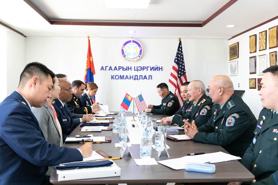 Brig. Gen. Enkhbayar Ochir, commander of Mongolian Air Force Command (MAFC), welcomes Gen. CQ Brown Jr., Pacific Air Forces commander, and his staff at the MAFC headquarters in Ulaanbaatar, Mongolia, May 14. In addition to evaluating the recent success of the Airman-to-Airman Talks in Hawaii in March, discussions during the visit included opportunities to enhance training, exercises and subject matter expert exchanges. (photo courtesy US Embassy)