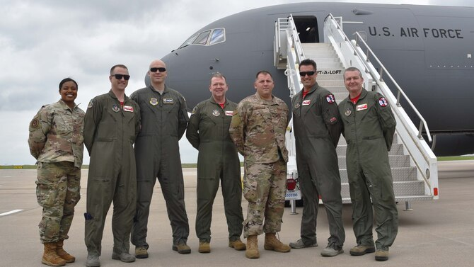 Members of Team McConnell pose with Lt. Gen. Richard Scobee, Chief of the Air Force Reserve and Air Force Reserve Command commander, in front of a newly delivered KC-46A Pegasus May 17, 2019, at McConnell Air Force Base, Kan. This is the sixth KC-46 to be delivered to McConnell.