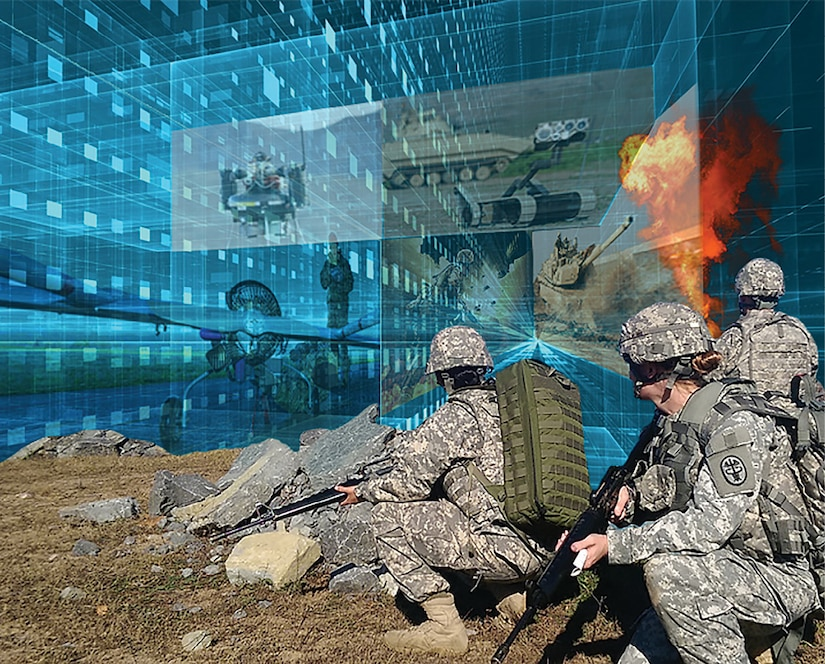 A photo illustration of troops.