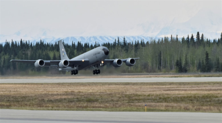 A U.S. Air Force Reserve KC-135 Stratotanker assigned to the 507th Air Refueling Wing out of Tinker Air Force Base, Okla., takes off during Northern Edge, May 14, 2019, from Eielson Air Force Base, Alaska. Northern Edge is one in a series of U.S. Indo-Pacific Command exercises in 2019 that prepares joint forces to respond to crises in the Indo-Pacific region