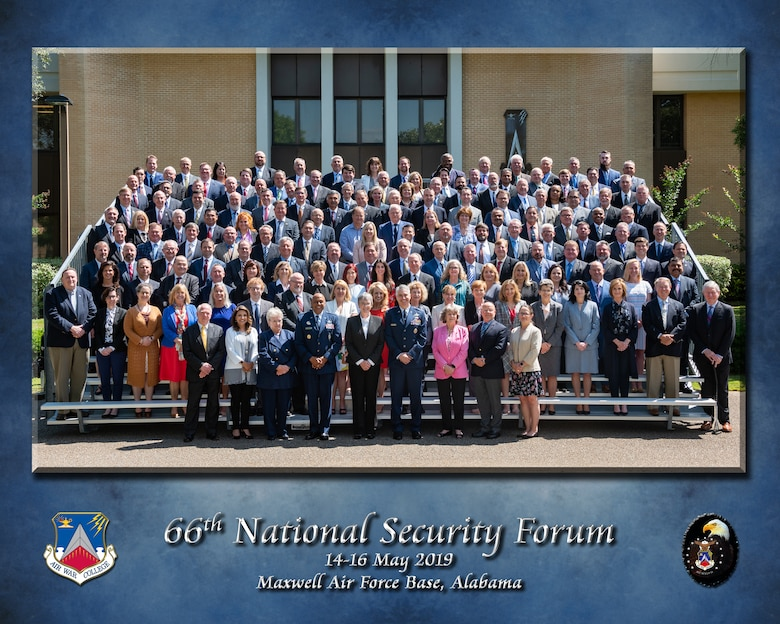 Participants of the 66th annual National Security Forum stand together for a photo May 14, 2019, at Maxwell Air Force Base, Alabama. Hosted by Air University's Air War College on behalf of the Secretary of the Air Force, NSF enables the sharing of perspectives between civic leaders, senior military officers and experienced government civilians on leadership, strategy, national security and more.