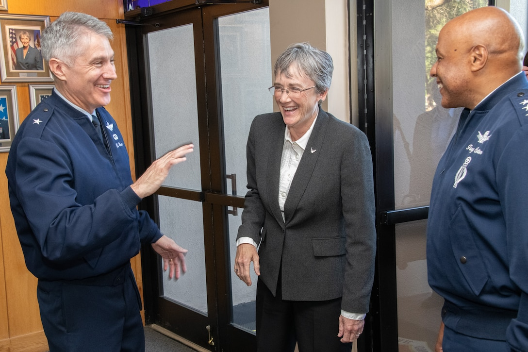 Brig. Gen. Jeremy Sloane, Air War College commandant (left), Secretary of the Air Force Heather Wilson (center), and Lt. Gen. Anthony Cotton, Air University commander and president (right), share a laugh during the 66th annual National Security Forum May 14, 2019, at Maxwell Air Force Base, Alabama. Hosted by Air University's Air War College on behalf of the Secretary of the Air Force, NSF enables the sharing of perspectives between civic leaders, senior military officers and experienced government civilians on leadership, strategy, national security and more.