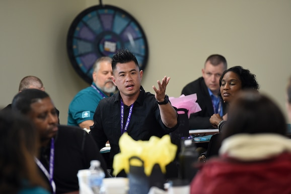 Simon Chan, assigned to the 2nd Battalion, 360th Regiment, 85th U.S. Army Reserve Support Command, responds to remarks during the 85th USARC's 'Stand For Life' suicide prevention training, May 6-10, 2019, at the 85th USARSC headquarters.