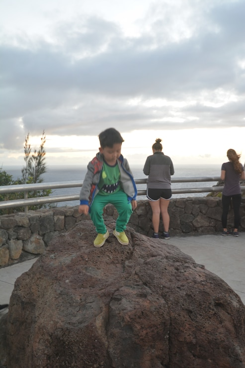 Honolulu District Chief of Resource Management and his 4 year old son Ethan enjoyed a two-mile hike to view the sunrise from the Corps of Engineers-built Makapu`u Lighthouse April 25, 2019, celebrating the 114th Birthday of the District.