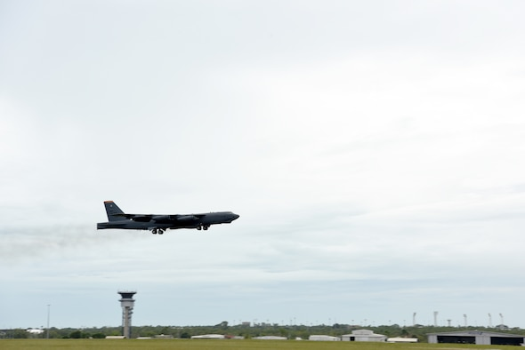 A U.S. Air Force B-52 Stratofortress assigned to the 23rd Expeditionary Bomb Squadron, deployed from Anderson Air Force Base, Guam, takes off during Exercise Diamond Storm at Royal Australian Air Force Base Darwin, Northern Territory, Australia, May 9, 2019.