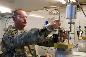 """The 379th Expeditionary Logistics Readiness Squadron provides a """"home"""" for the Air Force Petroleum Office. The team of three provides quality assurance and control of fuels and gases for the U.S. Central Command area of responsibility."""