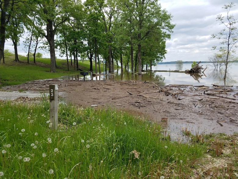 Three campsites are all that remain above water at Stockdale Park Campground, Tuttle Creek Lake, Manhattan, Kan. Contributed photo taken May 18, 2019.