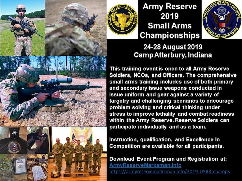 The 2019 USAR Small Arms Championships are designed to train the most lethal, capable, and combat ready Army Reserve Soldiers. Get on the Road to Awesome by attending this event as an individual or team. All Army Reserve Soldiers are invited.