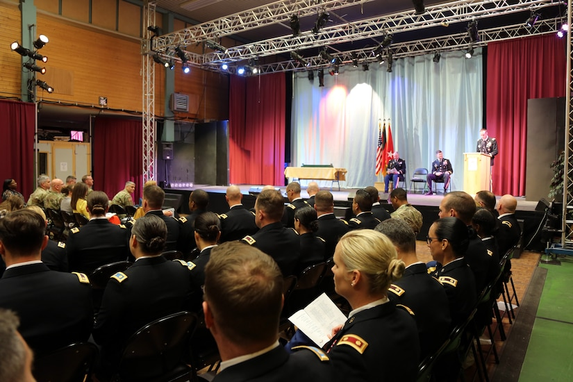 U.S. Army Reserve Lt. Col. Michael Hiller, commander of the 7th Intermediate Level Education Detachment, 7th Mission Support Command, speaks to graduates and guests during a U.S. Army Command and General Staff Officers Course Common Core graduation ceremony hosted by the 7th ILE DET in Grafenwoehr, Germany, May 17, 2019. The 7th ILE offers a unique year-long ILE common core curriculum designed for multi-component officers deployed or stationed overseas.