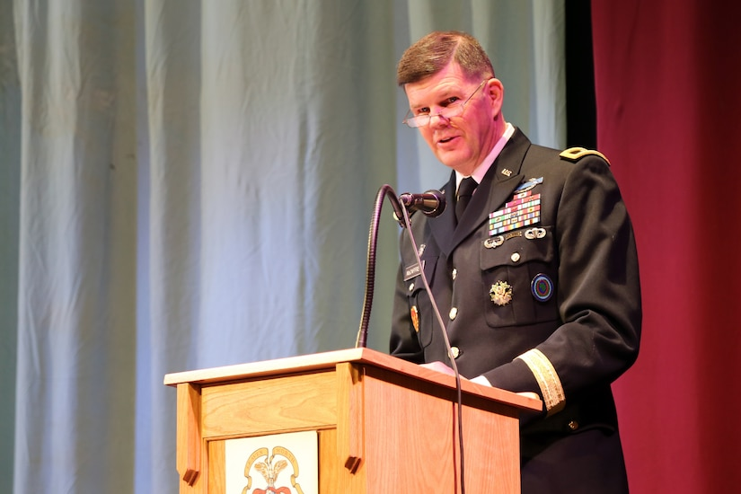 Maj. Gen. Todd B. McCaffrey, U.S. Africa Command chief of staff, gives the commencement speech during a U.S. Army Command and General Staff Officers Course Common Core graduation ceremony hosted by the 7th Intermediate Level Education Detachment, 7th Mission Support Command, in Grafenwoehr, Germany, May 17, 2019. The 7th ILE DET offers a unique year-long ILE common core curriculum designed for multi-component officers deployed or stationed overseas.