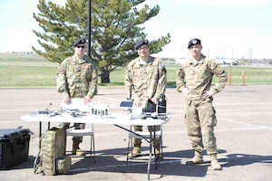 Defenders with the 90th Security Support Squadron, unmanned aerial systems unit display the tools of their trade during a security forces exposition for National Police Week, May 14, 2019, on F.E. Warren Air Force Base, Wyo.  In 1962, President John F. Kennedy designated May 15, Peace Officers' Memorial Day and the week in which that day fall as, National Police Week, to pay respect to law enforcement officers who have lost their lives in the line of duty. (U.S. Air Force photo by 1st Lt. Nikita Thorpe)