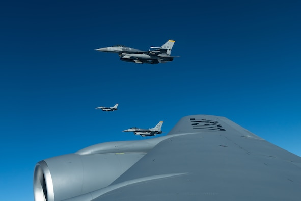 Three F-16CM Fighting Falcons from the 35th Fighter Wing, Misawa Air Base, fly during a routine training exercise off the coast of Japan, May 8, 2019. The 35th FW provides worldwide deployable forces with a sustained forward presence focused on maintaining a free-and-open Indo-Pacific. (U.S. Air Force photo by Airman 1st Class Matthew Seefeldt)