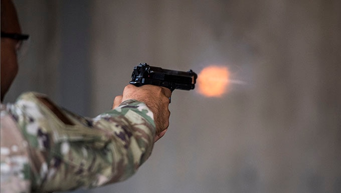 Staff Sgt. Michael Lagares, 728th Air Mobility Squadron crew chief, participates in a shooting competition on May 17, 2019, at Incirlik Air Base, Turkey. The 39th Security Forces Squadron hosted the event with the aim of promoting camaraderie among Incirlik Airmen from different career fields. (U.S. Air Force photo by Senior Airman Joshua Magbanua)