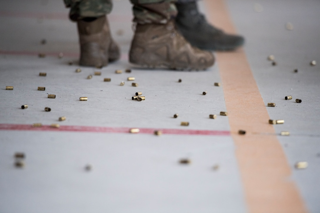 Shell casings litter the floor during a shooting competition on May 17, 2019, at Incirlik Air Base, Turkey. Each participant received 30 rounds of ammunition and shot targets at multiple positions. (U.S. Air Force photo by Senior Airman Joshua Magbanua)