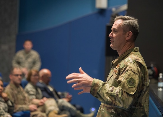 U.S. Air Force Maj. Gen. Andrew Toth, Air Force Personnel Center commander, opens the AFPC Roadshow Town Hall at the Hercules Theater on Ramstein Air Base, Germany, May 13, 2019. During the town hall, AFPC briefers spoke to 86th Airlift Wing military and civilians on changes to processes and policies regarding personnel matters. (U.S. Air Force photo by Staff Sgt. Jimmie D. Pike)