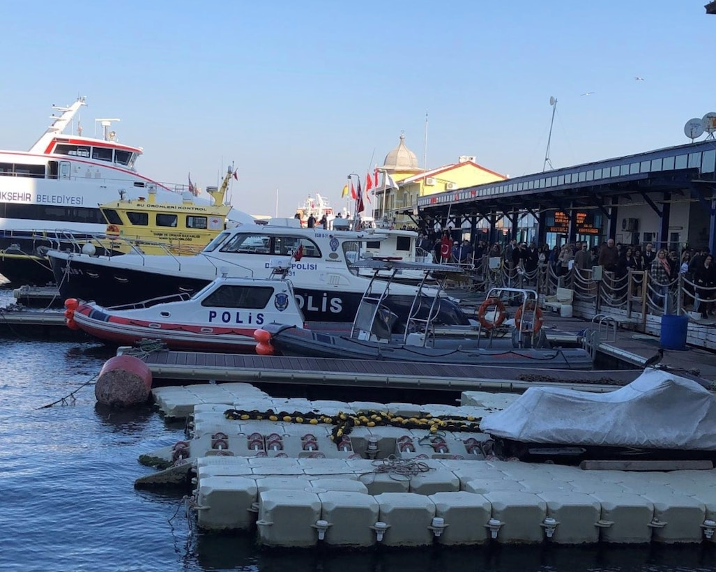 Ferries and boats line the waterway of Pasaport Ferry Terminal March 22, 2019, in Izmir, Turkey. One of the transportation options available to Airmen assigned to the 425th Air Base Squadron is the commuter ferry service. (Courtesy photo)