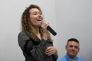 Staff Sgt. Kimberly Marquez, 39th Operations Support Squadron air traffic control watch supervisor, sings for the students during a local school visit on May 9, 2019, in Adana, Turkey. Marquez and seven fellow Airmen learned more about Turkish values as well as showcased key aspects of American culture. (U.S. Air Force photo by Staff Sgt. Ceaira Tinsley)