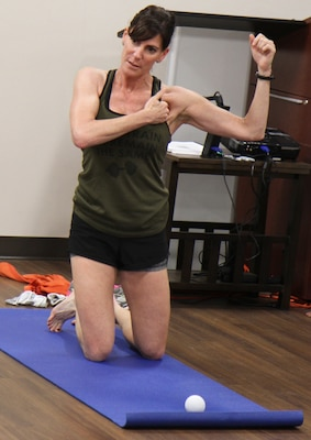 Dr. Tracy Smith, a physical therapist, retired Army colonel and 360° Leader Program, teaches during the 360 Program at the Vogel Resiliency Center at Joint Base San Antonio-Fort Sam Houston May 15. The week-long course offered non-commissioned officers from the Army and Air Force sessions focusing on breathing and relaxation response, physical fitness, relationships and communication to help them become better leaders.