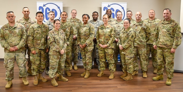 Soldiers and Airmen from Joint Base San Antonio-Fort Sam Houston complete the 360° Leader Program at the Vogel Resiliency Center May 15 with a graduation ceremony. The week-long course offered non-commissioned officers sessions focusing on breathing and relaxation response, physical fitness, relationships and communication to help them become better leaders, not focusing on just one component, but the whole person.